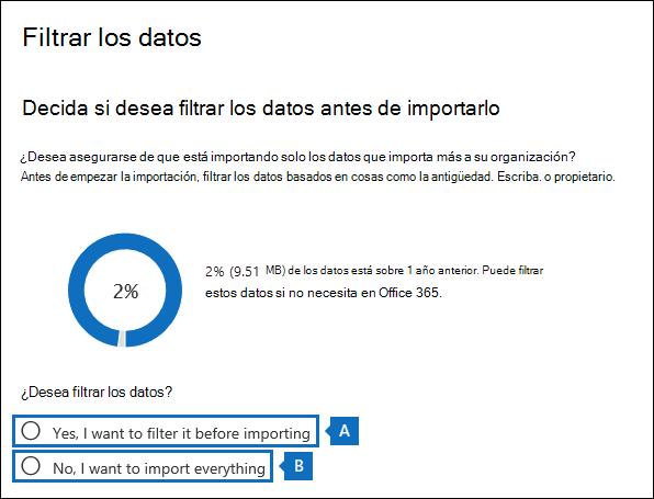 Puede recortar los datos en los archivos PST o importar todo