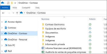 Captura de pantalla de archivos de OneDrive para la Empresa en el Explorador de archivos