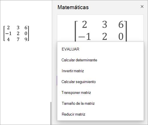 Opciones de solución para matrices