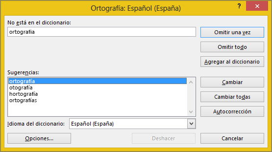 Cuadro de diálogo Ortografía