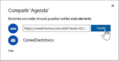 Captura de pantalla de la opción Obtener un vínculo en el cuadro de diálogo Compartir en OneDrive