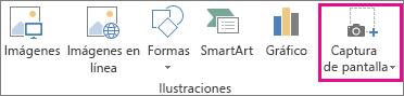 Botón Captura de pantalla en el grupo Ilustraciones en Word