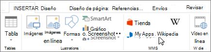 Captura de pantalla de la ficha Insertar en la cinta de opciones de Word con un cursor apuntando a la tienda. Seleccione almacenamiento para ir a la tienda de Office y busque complementos de Word.