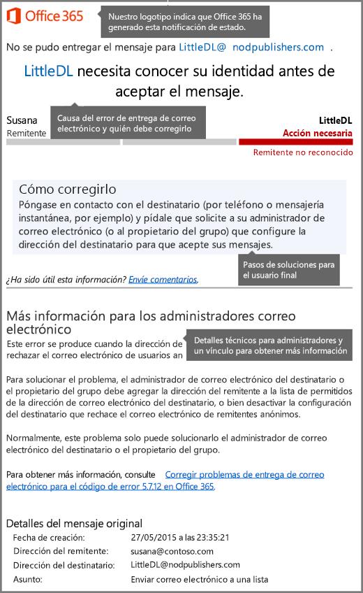 Formato más reciente para la notificación de estado de entrega (DSN) en Office 365