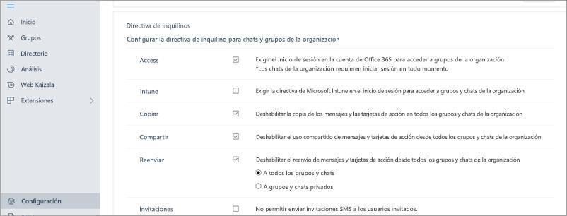 Sección de la Directiva de inquilino en el portal de administración de Kaizala