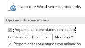Vista parcial de configuración de accesibilidad de Word