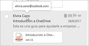 Captura de pantalla del cursor sobre el nombre de un remitente