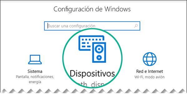 Seleccione Dispositivos en el cuadro de diálogo Configuración de Windows.