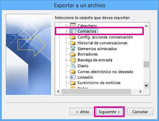 Asistente para exportar de Outlook - Seleccionar contactos