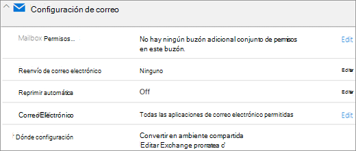 Captura de pantalla: Configuración de correo de Office 365