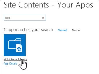 Contenidos del sitio con el icono de la aplicación Wiki resaltado