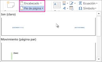 Seleccionar un formato de encabezado o pie de página