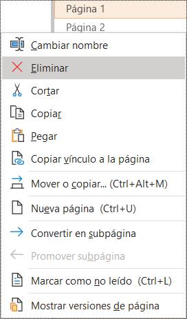Cuadro de diálogo Eliminar una página en OneNote para Windows