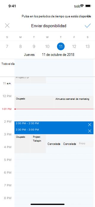 """En una pantalla de iOS se muestra un calendario con """"Enviar disponibilidad"""" encima de él. A la derecha hay una marca de verificación."""