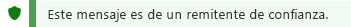Captura de pantalla de la notificación de remitente de confianza.