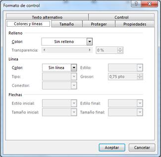 las opciones del cuadro de diálogo Formato de control