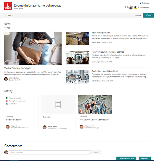Página principal del sitio de SharePoint Teams