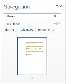 Páginas filtradas que muestran los resultados de la búsqueda