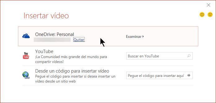 El cuadro de diálogo Insertar vídeo incluye una opción para abrir un vídeo insertado desde OneDrive.