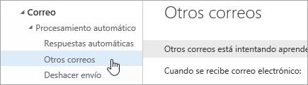 Captura de pantalla del puntero sobre Otros correos en el menú Configuración.