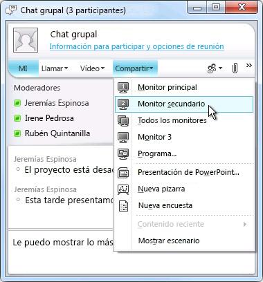 Ventana de Microsoft Lync con opciones para compartir pantalla