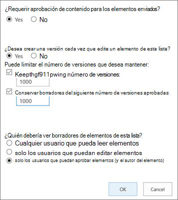 Opciones de configuración de lista en SharePoint Online, que muestra el control de versiones habilitado