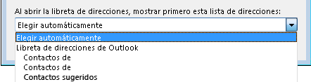 Puede seleccionar el nombre de la libreta de direcciones a la cual desea obtener acceso en primer lugar.