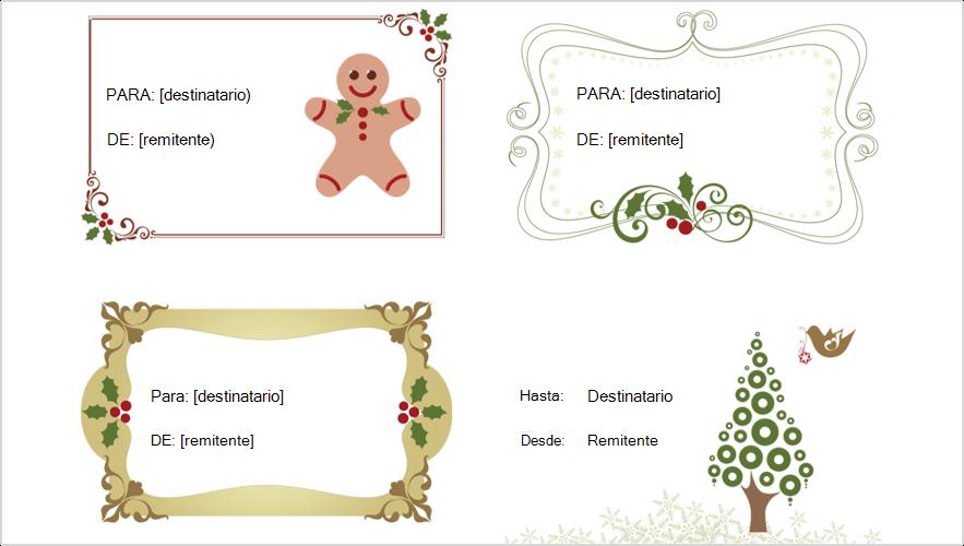 Imagen de 4 etiquetas de regalo de Navidad