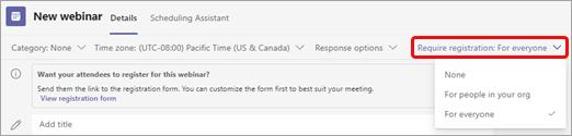 Seleccione Requerir registro en Opciones de reunión