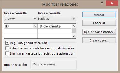 Editar una relación existente entre tablas