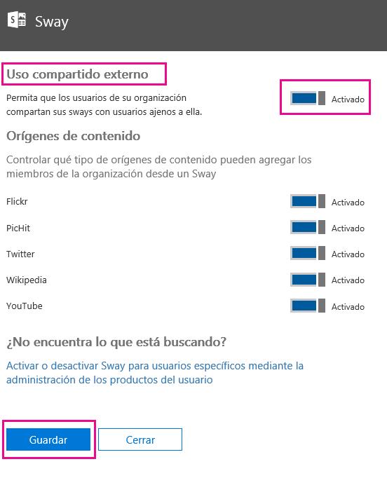 """Establezca la configuración de """"Uso compartido externo"""" en activar o desactivar, según sea el caso, y haga clic en Guardar."""