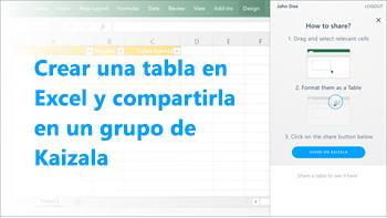 Captura de pantalla: Crear la tabla en excel y compartir en un grupo de kaizala