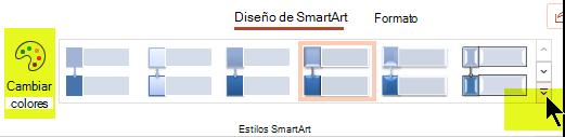 Puede cambiar el color o el estilo del gráfico con las opciones de la pestaña diseño de SmartArt de la cinta de opciones.