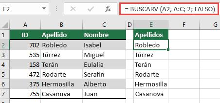 Use BUSCARV con una única referencia de lookup_value: = BUSCARV (a2, A:C, 32, falso). Esta fórmula no devolverá una matriz dinámica, pero puede usarse con tablas de Excel.