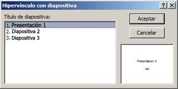 Cuadro de diálogo Hipervínculo con diapositiva