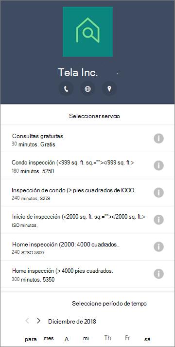 Un formulario de reservas de ejemplo para una empresa de servicios domésticos