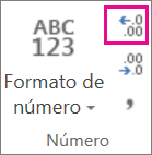 Botón Aumentar decimales