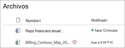 Captura de pantalla de archivos en OneDrive para la empresa con uno detectado como malintencionado