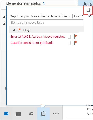 Información de Tareas con el icono de acoplamiento resaltado