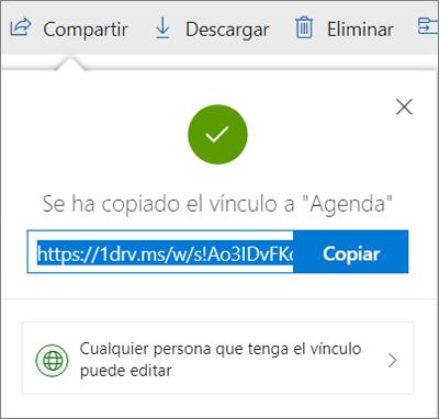 Confirmación de Copiar vínculo al compartir archivos a través de un vínculo en OneDrive
