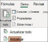 El mouse apunta al comando actualizar de la cinta de opciones