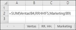 Referencia de fórmula varias hoja de Excel
