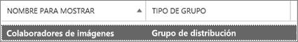 Seleccione un grupo de distribución de la página de grupos