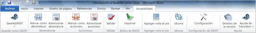 Save As DAISY en la ficha Accesibilidad de la cinta de opciones