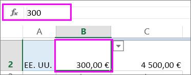 Vista de un valor de número en la barra de función