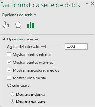 Panel de tareas Formato de serie de datos que muestra opciones de gráfico Box and Whisker en Office 2016 para Windows