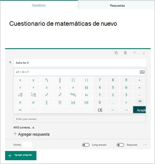 Selección de símbolo de fórmula matemática