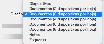 Seleccionar el diseño del documento en el cuadro de diálogo Imprimir