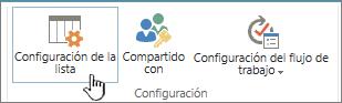 Configuración de lista en la cinta de opciones