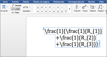 Documento de Word en el que se incluye una ecuación LaTeX